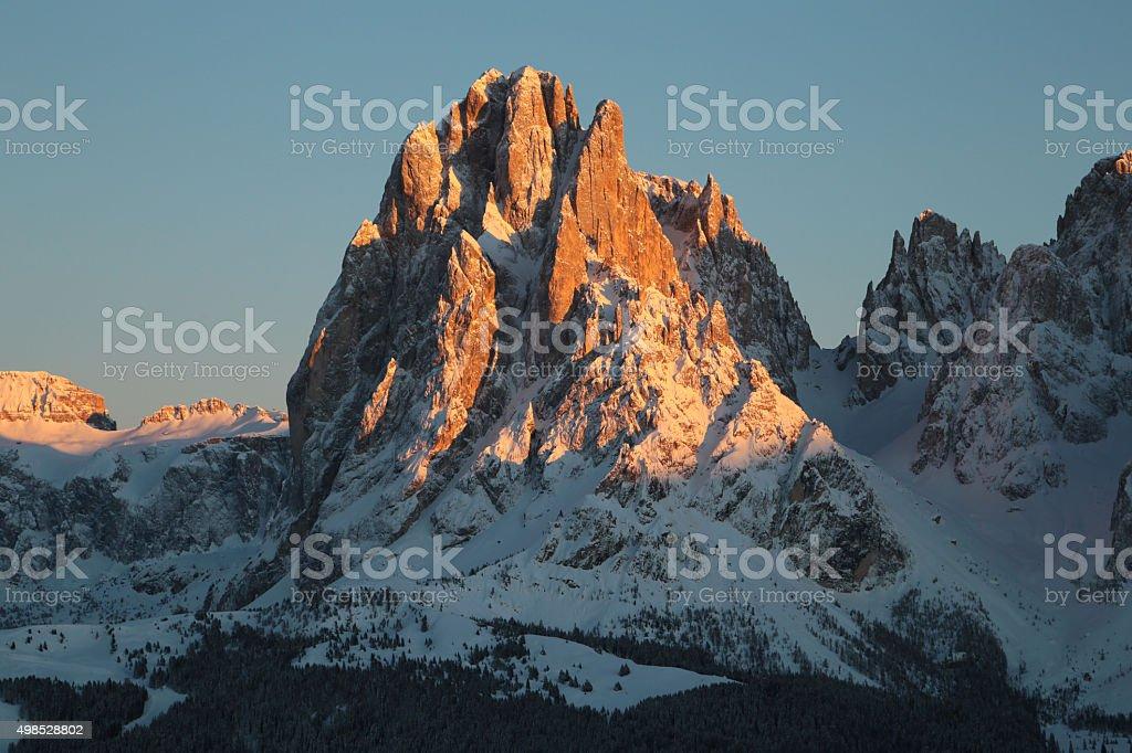 Sassolungo mountain in the sunset, Trentino Alto Adige, Italy stock photo