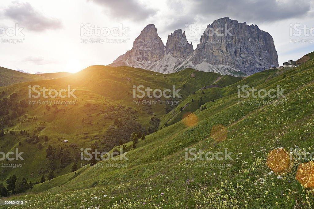Sassolungo Mountain stock photo