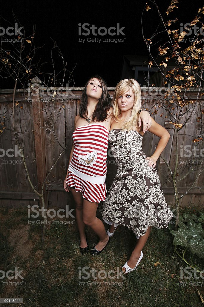 Sassy Friends in Dresses at Night royalty-free stock photo