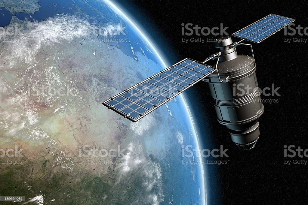 Satelite and earth 1 stock photo