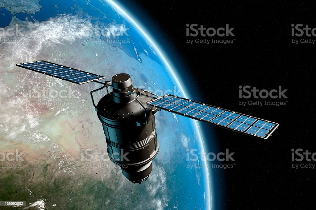 Satelite and earth 7 Satellite orbiting earth, photo-realistic high-res 3D rendering Broadcasting Stock Photo
