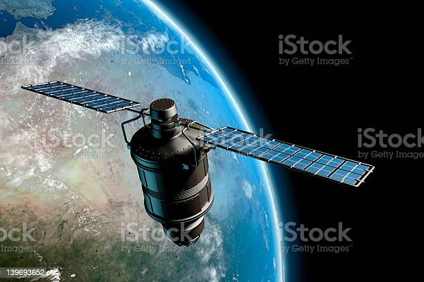 Satelite And Earth 7 Stock Photo - Download Image Now