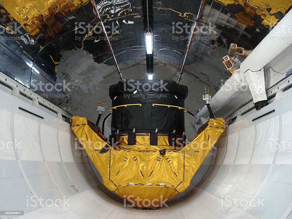 satelite inside space shuttle cargo hold stock photo