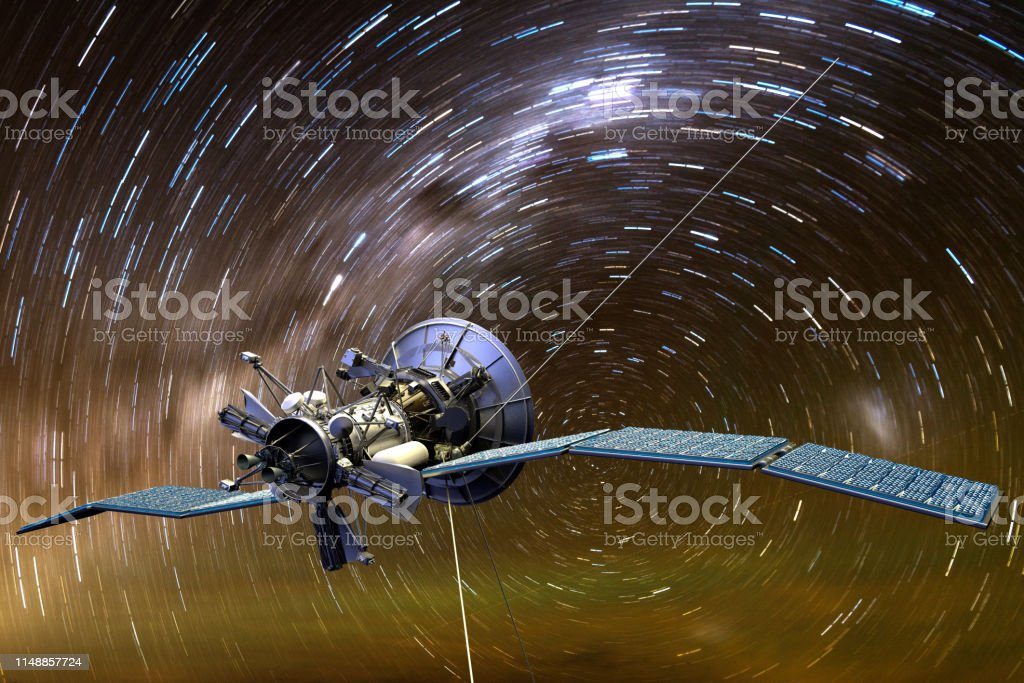 3D rendering of a satellite aginst star trails