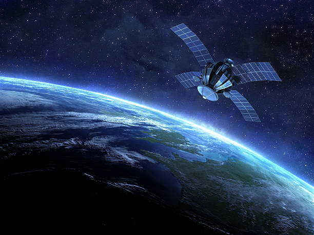 satellite and earth stock photo