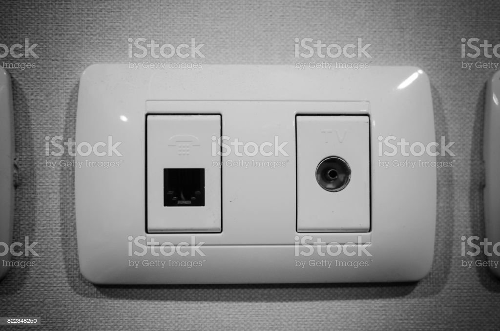 Satellite And Modular Outlet Plates On Black And White Tone Modular Faceplate Multi Media Module Wall Plate Hdm Stock Photo Download Image Now Istock