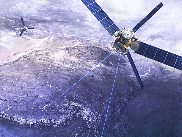 satellite and stratosphere stock photo