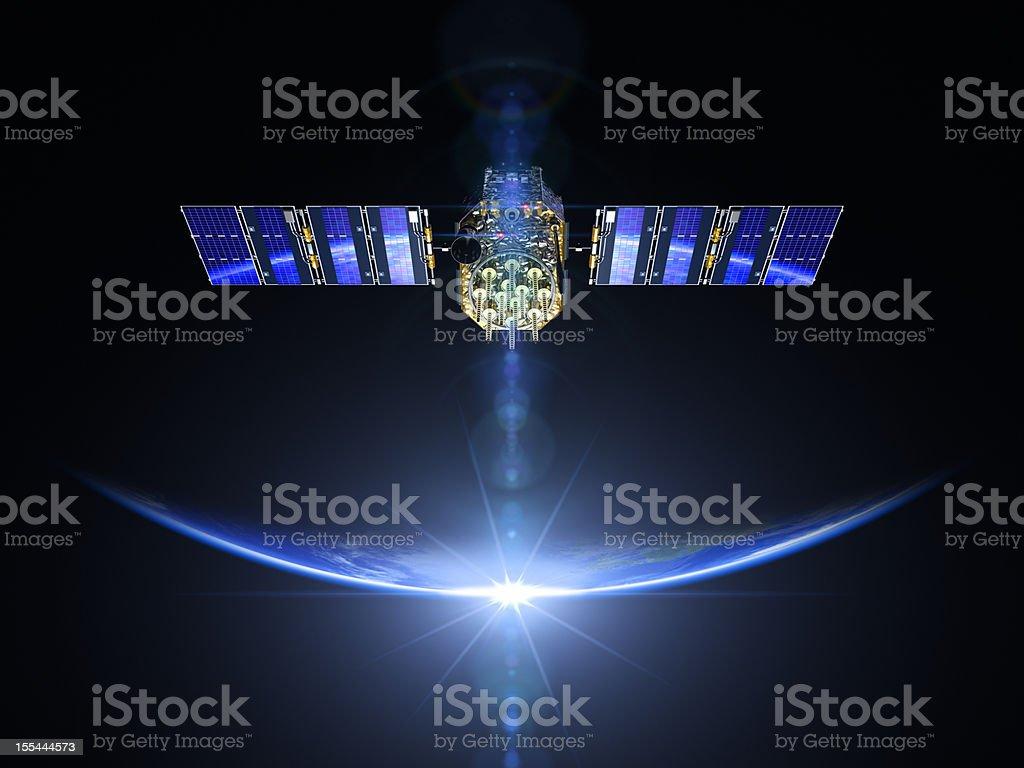 Satellite et le lever du soleil dans l'espace - Photo
