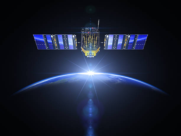 Satellite And Sunrise In Space file_thumbview_approve.php?size=2&id=45739500 satellite view stock pictures, royalty-free photos & images