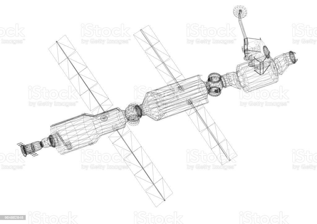 Satellite Architect blueprint royalty-free stock photo