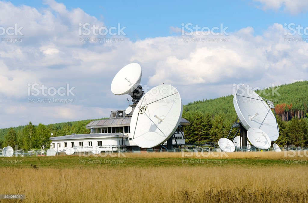 Satellite communication in the field stock photo