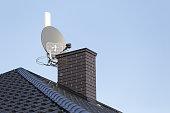 istock Satellite dish and tv, radio and wireless internet antenna. 843814054
