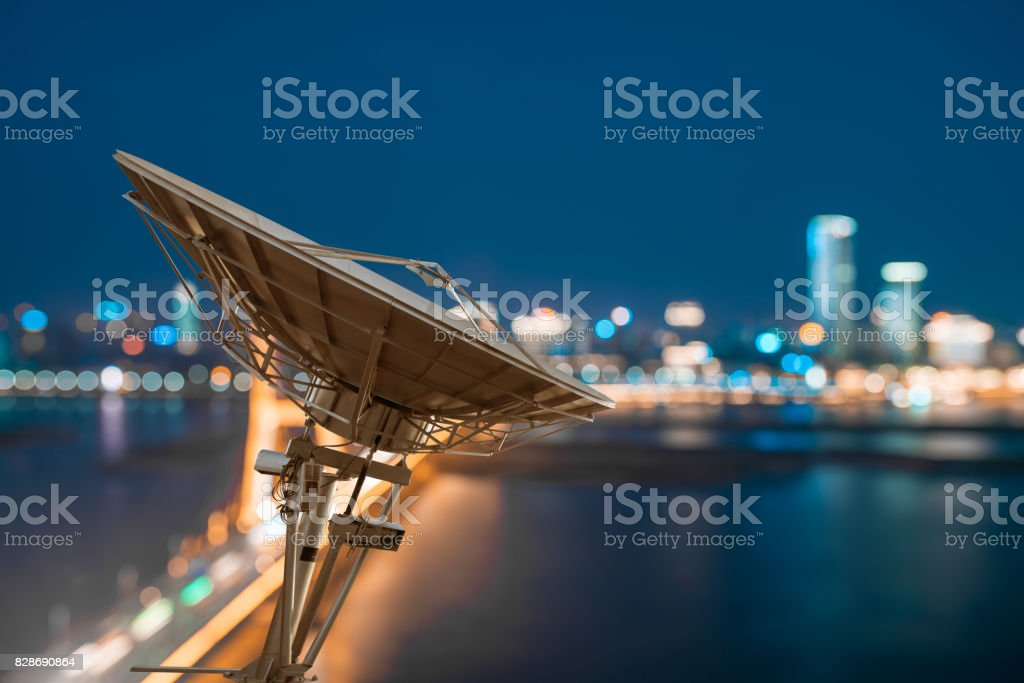 Urban Area At Night Satellite Dish ...