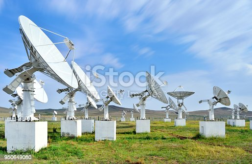 Searching telescopes array in the blue sky.