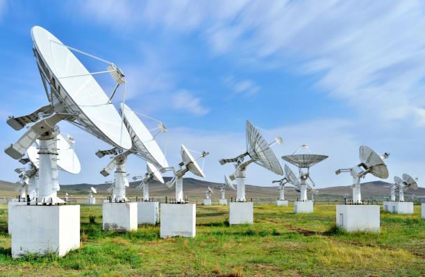 Satellite Dish Communications Tower stock photo