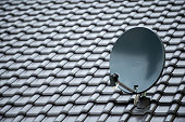 istock satellite dish on a new black roof 933909272