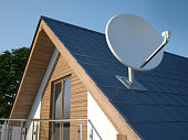 istock Satellite dish on roof 1174370473