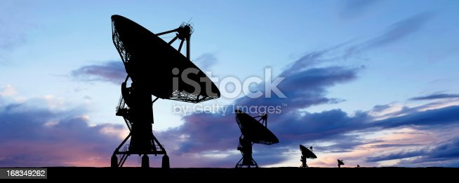 large satellite dishes in silhouette at sunset, panoramic frame (XXXL)