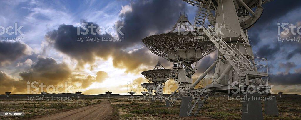 XL satellite dish sunset stock photo