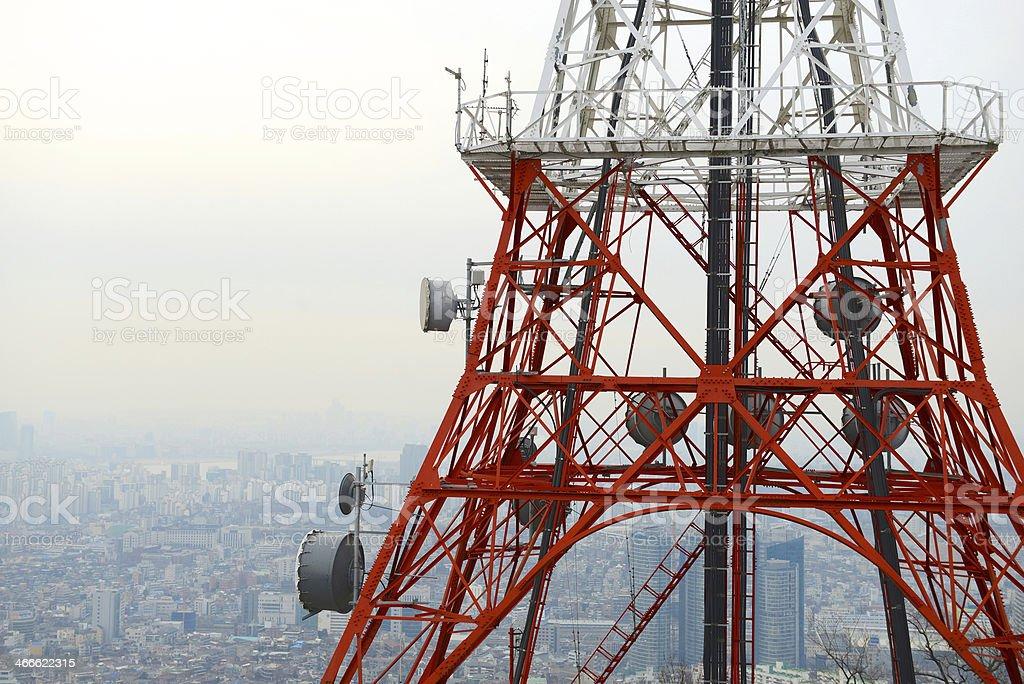 satellite dish tower royalty-free stock photo