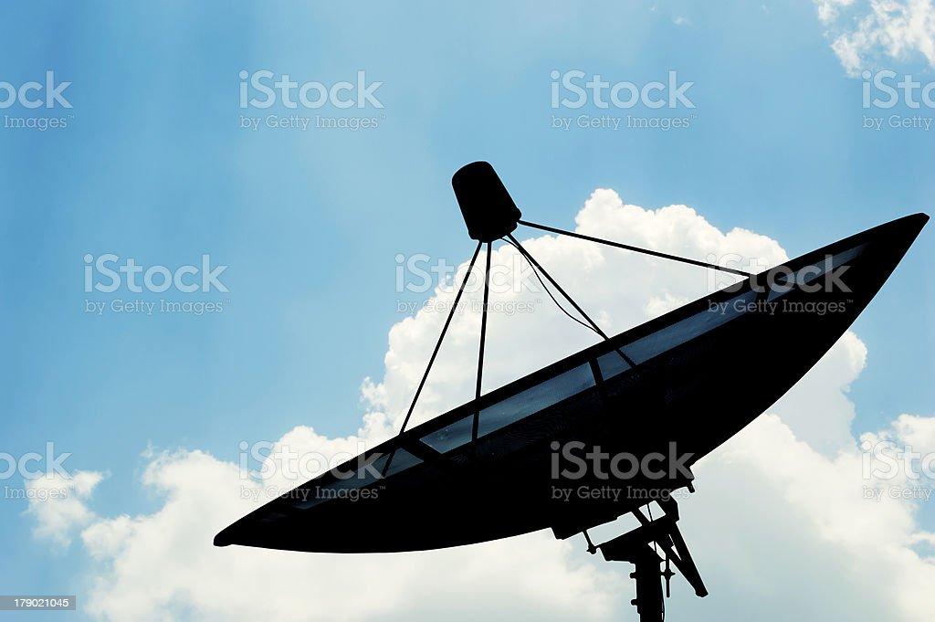 Satellite dish transmission data royalty-free stock photo