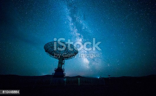 istock Satellite dish under a starry sky 810446884