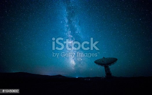 istock Satellite dish under a starry sky 810450632