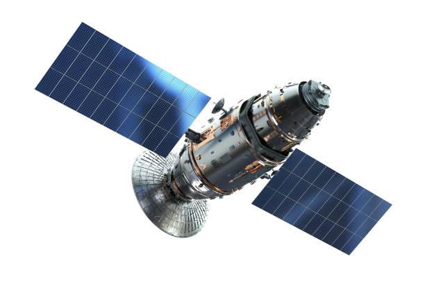 satellitenschüssel mit antenne - weißer hintergrund stock-fotos und bilder