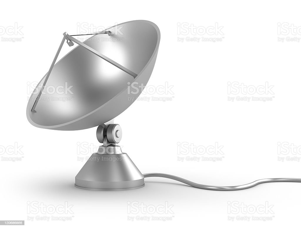 Satellite Dish with cable royalty-free stock photo