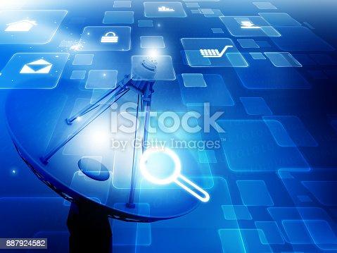 istock Satellite dish with internet icons 887924582