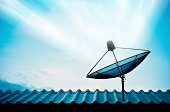 istock Satellite dish with sky on roof 455614141