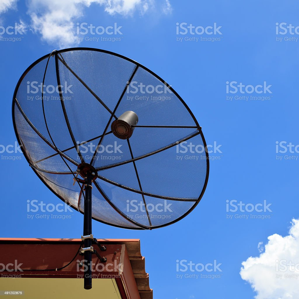 Satellite dish with sky royalty-free stock photo