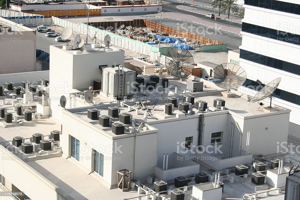 Satellite Dishes at the Roofs of Dubai stock photo