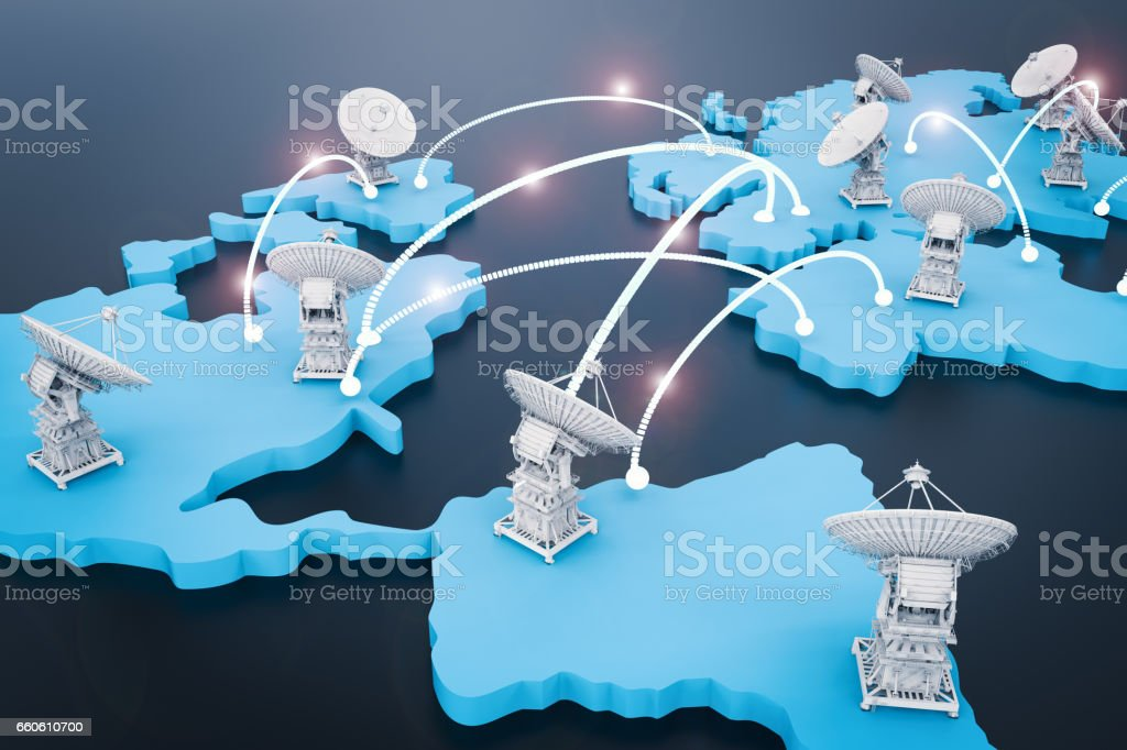 satellite dishes for global communication royalty-free stock photo