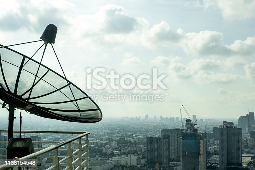 istock Satellite dishes On the balcony of the tall building In Bangkok at Thailand 1138154548