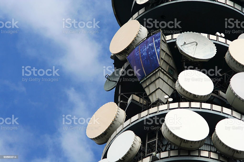 Satellite dishes on top of the BT Tower, London stock photo