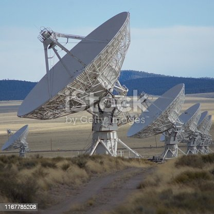 A row of satellite dishes at The Very Large Array in New Mexico