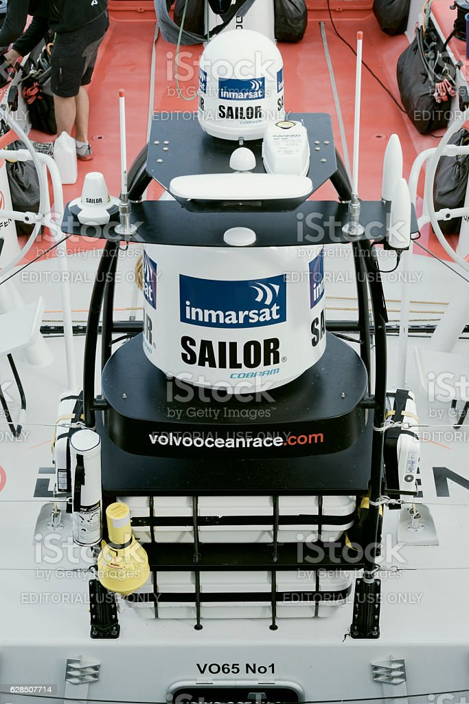 Satellite Domes attached to racing boat, Cape Town, South Africa stock photo