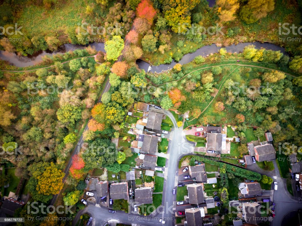 Satellite image style aerial view of country homes rural England. stock photo