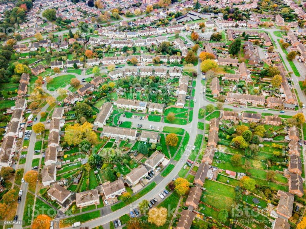 Satellite image style Vista Aérea de maisons dans un lotissement en anglais. - Photo