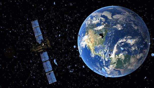 satellite in orbit among space debris-3d illustration