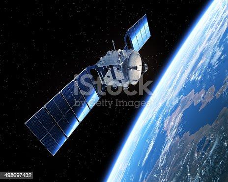 istock Satellite In Space 498697432