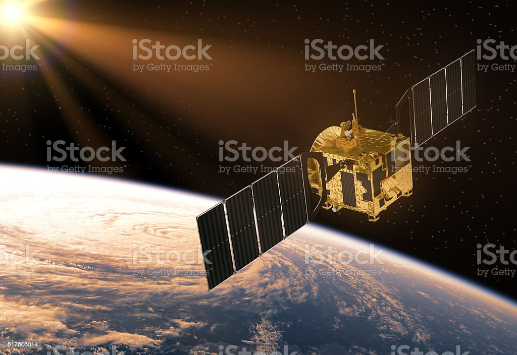 Satellite In The Rays Of Sun stock photo