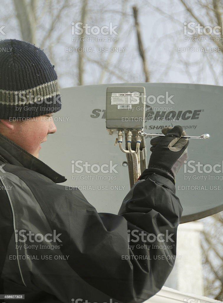 Satellite Installer royalty-free stock photo