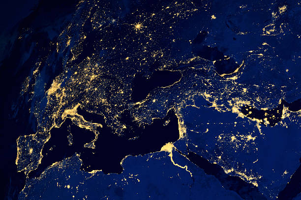 satellite map of european cities night - europe map stock photos and pictures