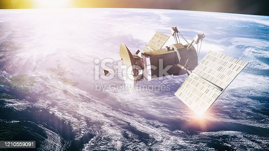 Satellite on planet background -  3d rendered image. Space explorer and global communication concept. Planet like Earth. Procedure generated textures.