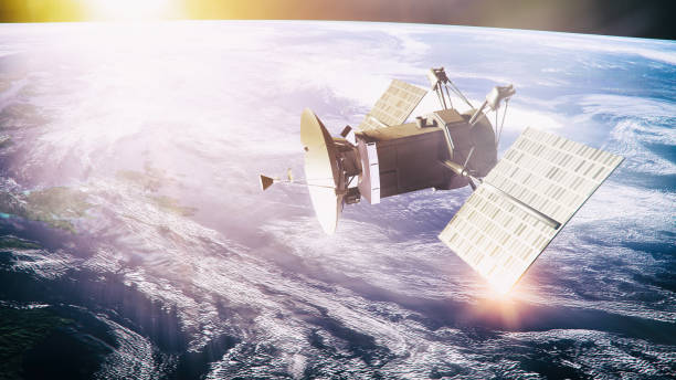 Satellite on planet background Satellite on planet background -  3d rendered image. Space explorer and global communication concept. Planet like Earth. Procedure generated textures. satellite view stock pictures, royalty-free photos & images