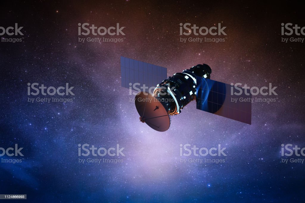 satellite on space 3d rendering satellite dish in space with starry sky Antenna - Aerial Stock Photo