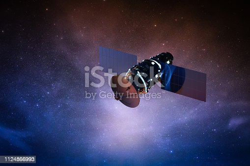 3d rendering satellite dish in space with starry sky