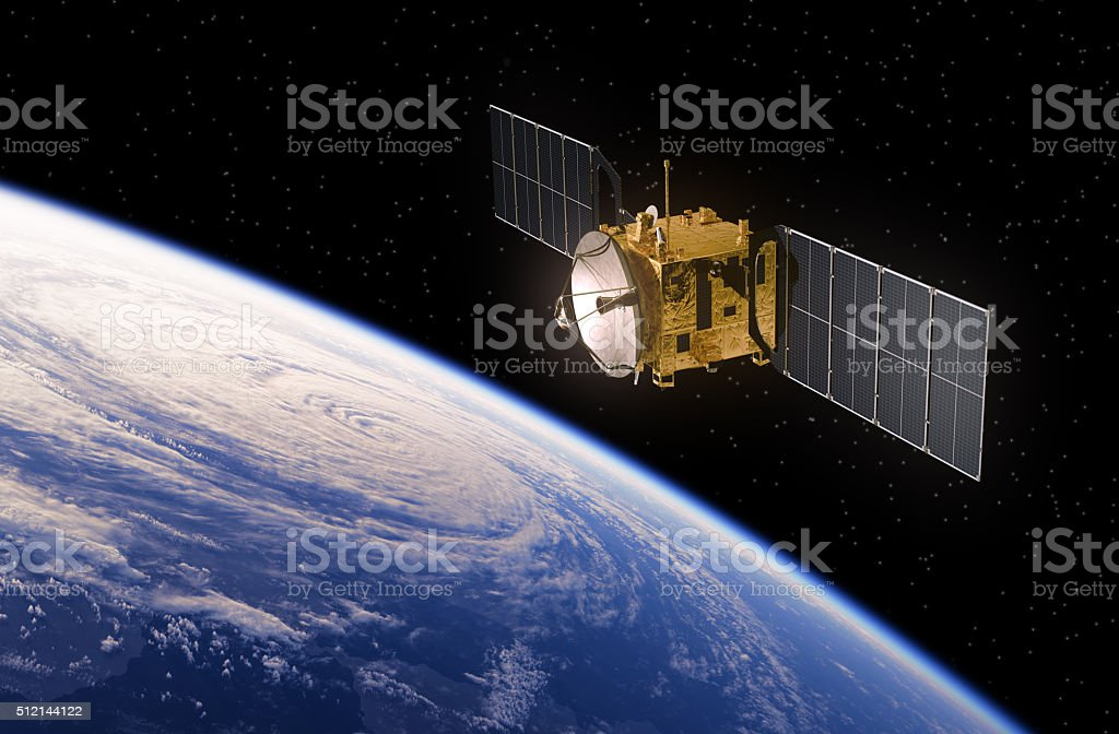 Satellite Orbiting Earth stock photo